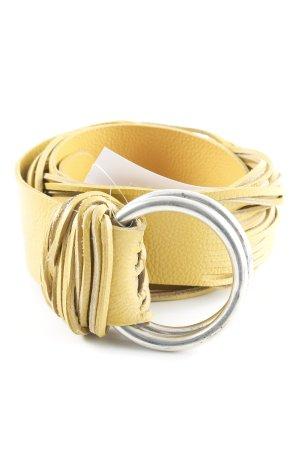 Bandolera Cinturón de cuero amarillo oscuro look casual