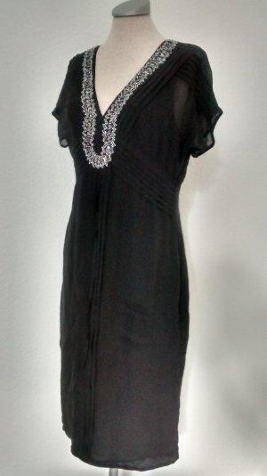 Bandolera Seidenkleid kurzarm schwarz Pailletten Gr. UK 12 EUR 38 Kleid Seide