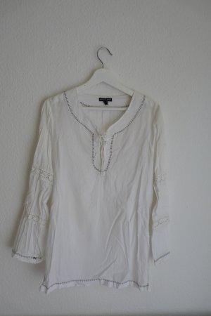 Bandolera Tunika Shirt S 38 Oberteil langarm weiß bestickt süß romantish Hippie Indie Boho Goa
