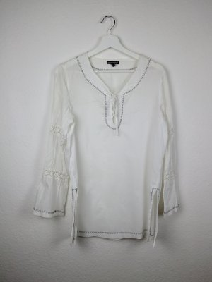bandolera tunika shirt S 38 weiß -NEU- langarm häkel süß romantisch hippie indie boho goa