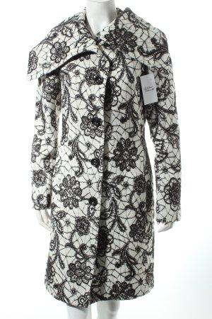 Bandolera Wintermantel weiß-schwarz florales Muster extravaganter Stil