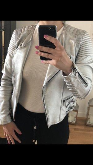 Barbara Bui Chaqueta de cuero color plata