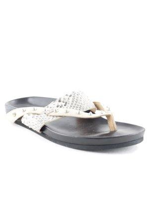 Barbara Bui Flip Flop Sandalen schwarz-beige Reptil-Optik