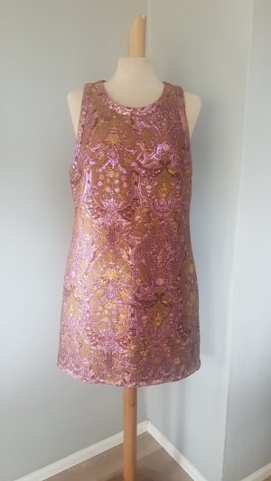 BARBARA BUI kleid dress brokat lila senfgelb gr.40