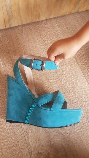 Barbara Bui Platform Sandals turquoise suede
