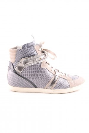 Barbara Bui Lace-Up Sneaker blue-cream animal pattern extravagant style