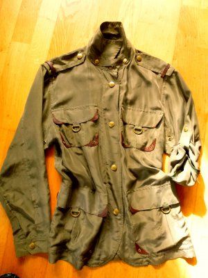 Barbara Bui Jacket olive green-brown silk
