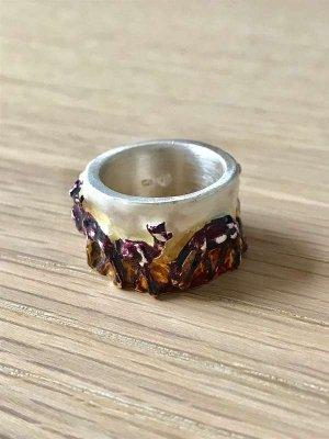 Barbara Haas Pforzheim HB Design Goldschmiede Handarbeit Ring Unikat Reh Hirsch Motiv Jagd Wiesn