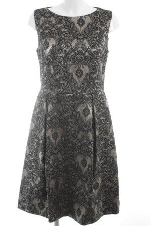 Barbara Schwarzer Abendkleid schwarz-graubraun Blumenmuster Elegant
