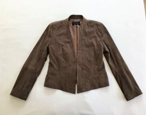 Barbara Schwarzer Leather Jacket grey brown-light brown leather