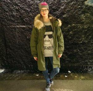 Barbed Parka Jacke Jades Düsseldorf Khaki Fell XXL Oversize Style Pelz Kapuze