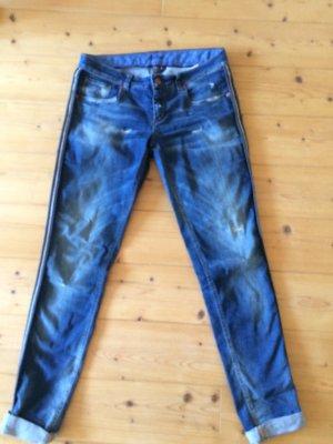 Barbone Five-Pocket Trousers blue cotton