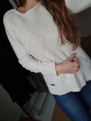 Barbour Pullover Weiß Gr. S-M 100% Schurwolle Qualität