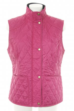 Barbour Quilted Gilet pink embroidered lettering casual look