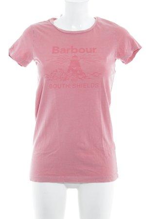 Barbour T-shirt rose lettrage imprimé style décontracté