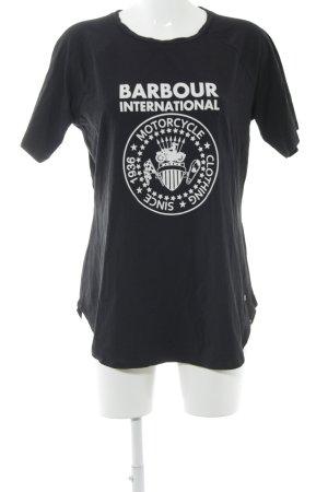 Barbour T-Shirt schwarz Motivdruck schlichter Stil