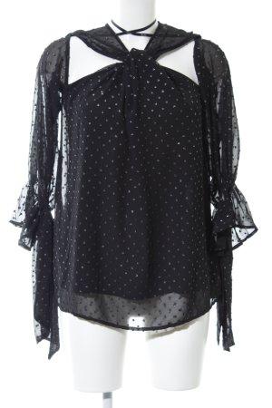 Bardot Langarm-Bluse schwarz Punktemuster Elegant