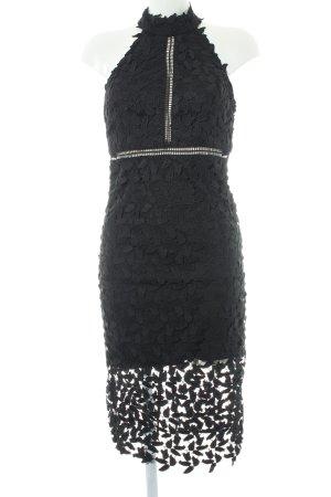 Bardot Vestido de encaje negro estampado floral elegante