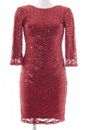 bariano Robe à paillettes rouge motif rayé pailleté