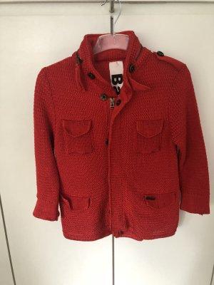 Bark Short Sleeve Knitted Jacket red