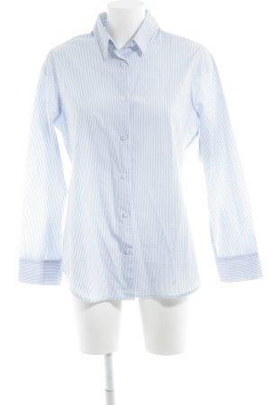 Barneys New York Long Sleeve Shirt white-azure striped pattern business style