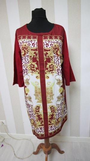 Robe tunique rouge foncé-blanc