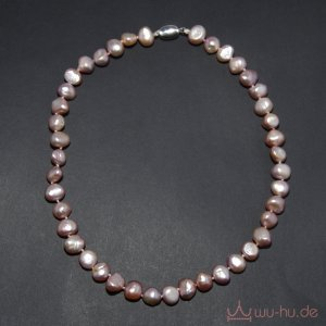 Pearl Necklace silver-colored-grey lilac