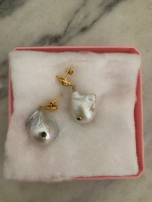 BAROQUE PEARL SHELL EARRINGS Ohrringe Perlen Muschel Gold Perlenohrringe Anni Lu