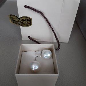Pendientes de perlas multicolor plata verdadero