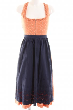 Bartholomäus Vestido Dirndl naranja claro-azul estilo clásico