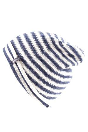 Barts Beanie blau-weiß Streifenmuster Casual-Look
