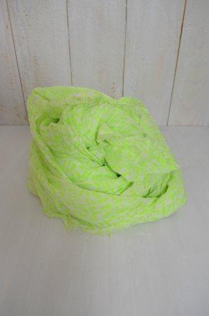 BARTS Damen Schal Tuch Baumwolle Fransen Weiß Neon-Grün Print 180cmx109cm