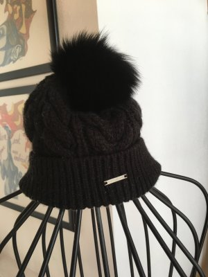 Barts Knitted Hat black-white wool