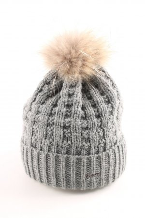 Barts Fur Hat light grey-natural white cable stitch casual look
