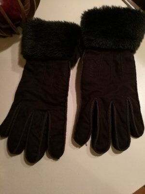 Barts Faux Leather Gloves dark brown polyester