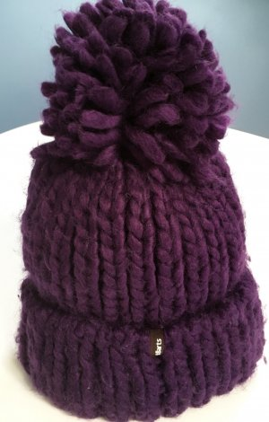 Barts Knitted Hat dark violet wool