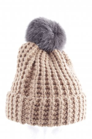 Barts Bobble Hat natural white-light grey cable stitch casual look