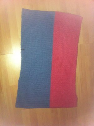 Barts Knitted Scarf raspberry-red-steel blue