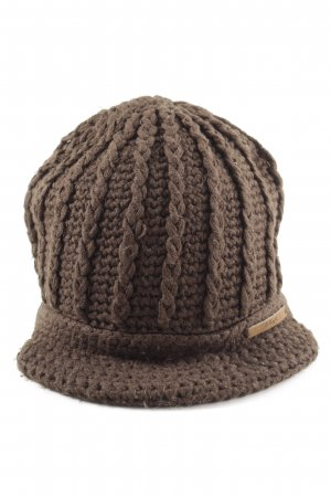 Barts Cappello a maglia marrone scuro-marrone punto treccia stile casual