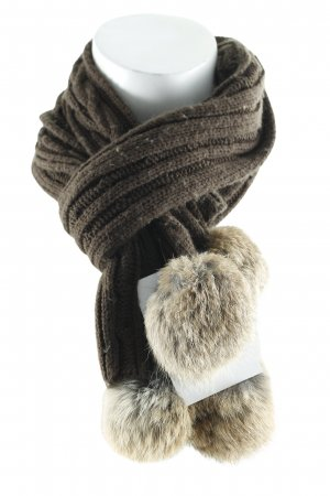 Barts Knitted Scarf dark brown-beige loosely knitted pattern fluffy