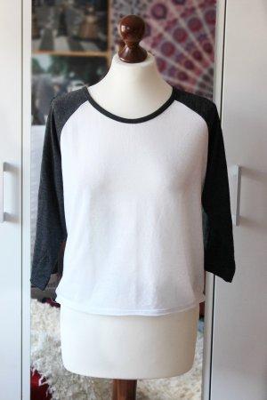 Baseball College Shirt schwarz weiß Urban Outfitters Sparkle & Fade 36 S Blogger