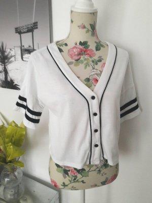 Baseball Shirt, Crop Top Shirt schwarz-weiß