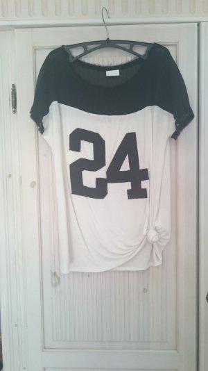 Baseball Shirt , Materialmix, schwarz weiß, oversize