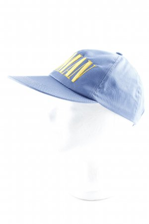 Off-White Baseball Cap azure-yellow embroidered lettering skater style