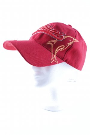 Gorra de béisbol rojo estampado temático estilo skater