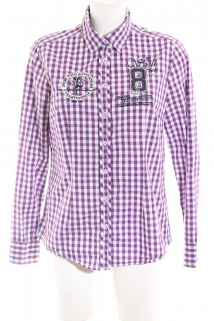 Basefield Checked Blouse lilac-white check pattern casual look