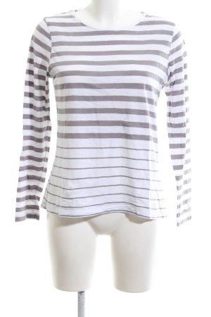 Basefield Longsleeve white-light grey striped pattern casual look