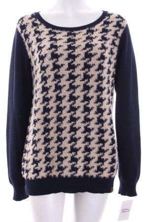 Basefield Pullover dunkelblau-wollweiß Hahnentrittmuster Casual-Look