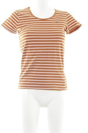 Basefield T-shirt orange foncé-blanc motif rayé style décontracté