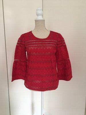 Ba&sh Blusa de encaje rojo